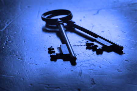 passkey: Wooden surface with keys to unlock
