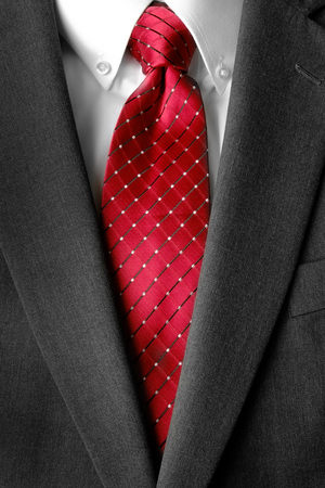 uomo rosso: Business suit white shirt and red tie for formal wear fashion Archivio Fotografico