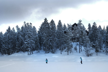 People walking through snow in a mountain wilderness pine forest photo