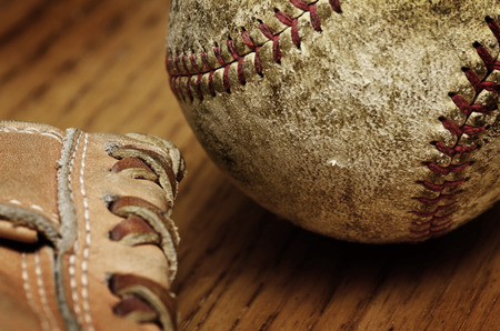 Baseball and mitt for playing game Stock Photo