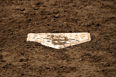 american sport: Home plate baseball sport american on field with fresh dirt Stock Photo