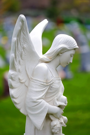 Carved angel from marble headstone