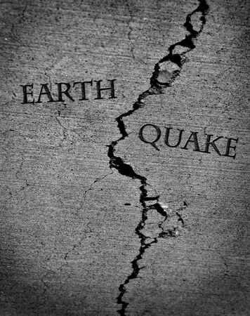 quake: Earth quake represented by cracked cement Stock Photo