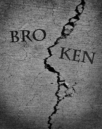 chipped: Broken represented by cracked cement broke