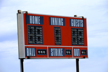 walk board: Baseball scoreboard and sky for game day sports competition