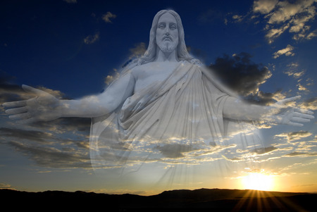 Sunset and Jesus with sky and clouds creations