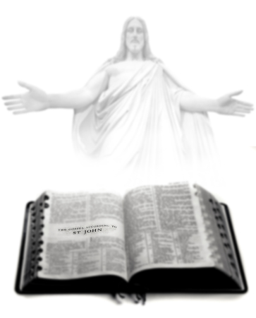 Pages from Bible holy word spiritual religion Jesus Stock Photo