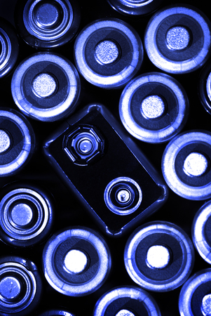 rechargeable: Group of batteries for power supply Stock Photo