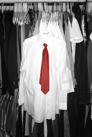 White dress shirts in closet for fashion