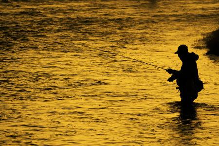 Sylwetka kołowrotka wędkarskiego wędka muchowa w rzece ze złotym światłem słonecznym