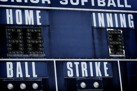 Detail of baseball scoreboard score board with ball strike home and innings Stock Photo