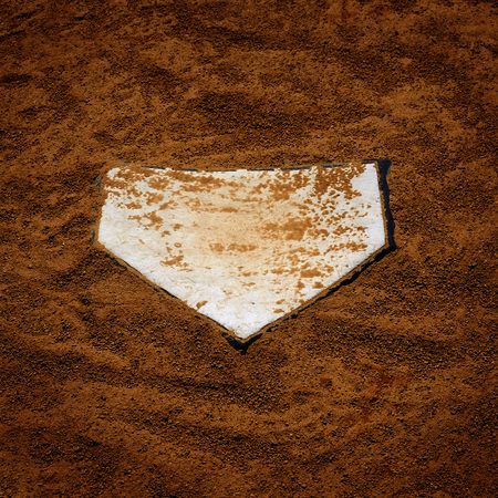 Baseball homeplate home plate in brown dirt for sports american past time Stock Photo