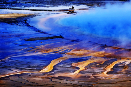 Yellowstone grand prismatic spring water steam geothermal