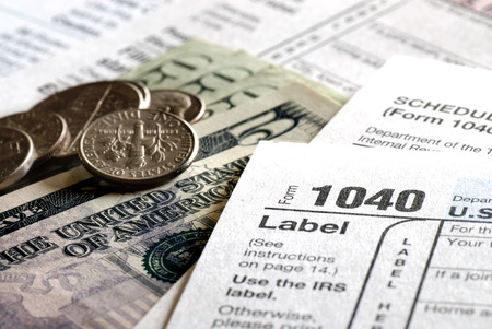 Tax forms for the IRS Income 1040 form Stock Photo