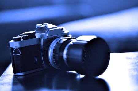 Vintage old film camera with manual focus lens