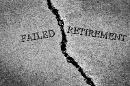 Old cracked sidewalk broken and dangerous cement failed retirement poor povery with no savings