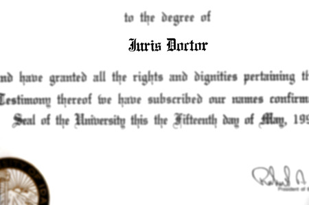 Juris Doctor doctorate law legal degree for practicing lawyer