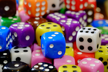 Closeup of pile of dice for gaming gambling and playing games of chance Stock Photo