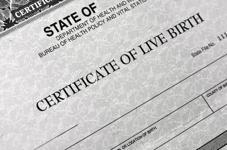 Certificat de naissance pour bébé vivant né Banque d'images
