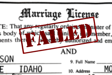 Marriage certificate paperwork certification for being married nuptials with Failed Stamp