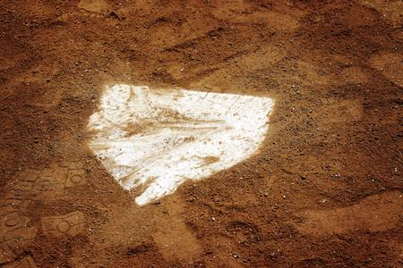 Baseball homeplate home plate in brown dirt