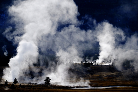 Geysers and steam from hot springs rising in Yellowstone National Park Stock Photo