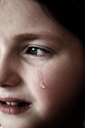 Fille pleurant avec des larmes sur le visage de la joue roulant vers le bas