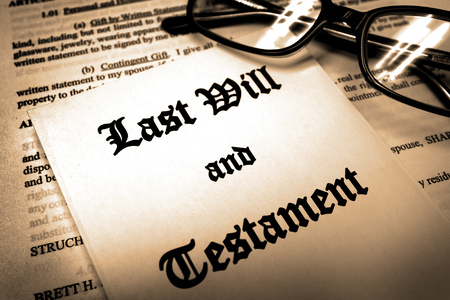Last will and testament for Estate Planning glasses Stock Photo