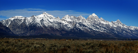 View of Teton Mountain Range rugged peaks in Wyoming United States
