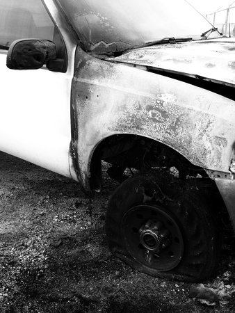 Wrecked and burned out truck car crash crashed destroyed wreck smashed 스톡 콘텐츠