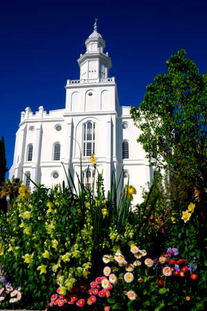 St. George Utah Mormon LDS Temple with white stone church religion