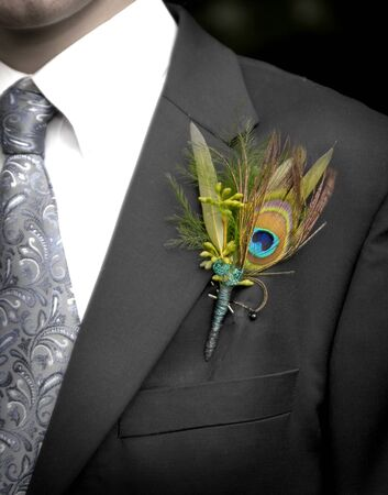 Man wearing formal suit tie and flower for dance or wedding 版權商用圖片