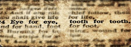 Bible scripture eye for an eye and tooth for a tooth old testament verse 写真素材