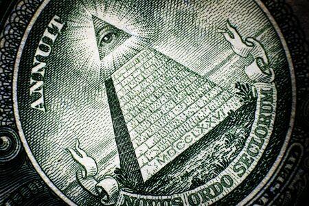 Pyramide All Seeing Eye à l'arrière de l'argent américain du billet d'un dollar