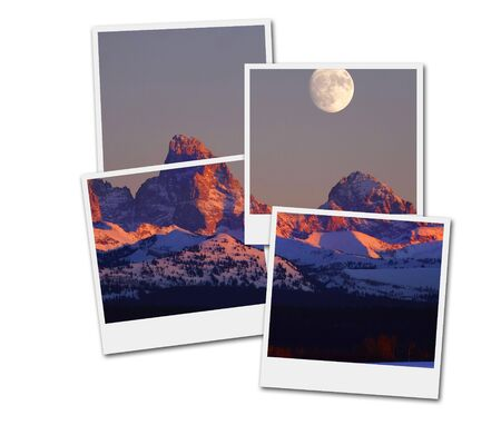Film frames picture Sunset light with alpen glow on Tetons Tetons mountains rugged with moon rising Фото со стока