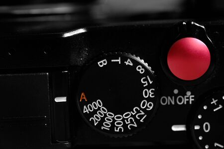 Camera with shutter speed dial settings for photography 写真素材