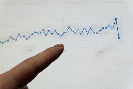 Pointing to stock chart graph for finances showing growth profits and losses