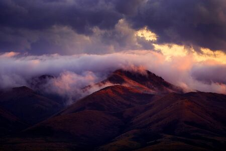 Mountains and forest trees in the wilderness with clouds and sunset light Banco de Imagens
