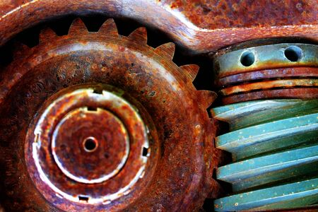 Old rusted gears box teeth on gear machinery and equipment