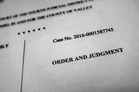 Legal proceedings papers for lawsuit judgment order decree suing suit Stock fotó
