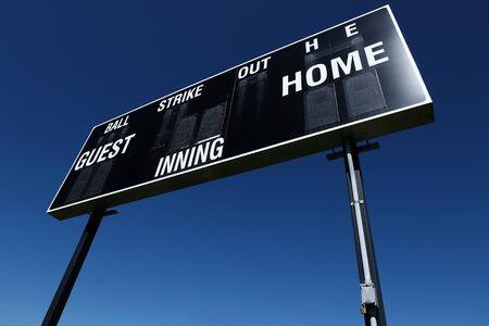 Baseball scoreboard score in competition sports teams