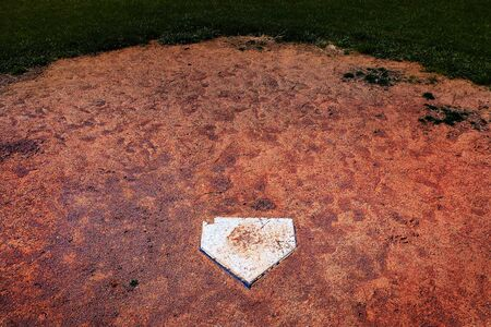 Baseball home plate homeplate in a ball field for sports competitions Stock Photo