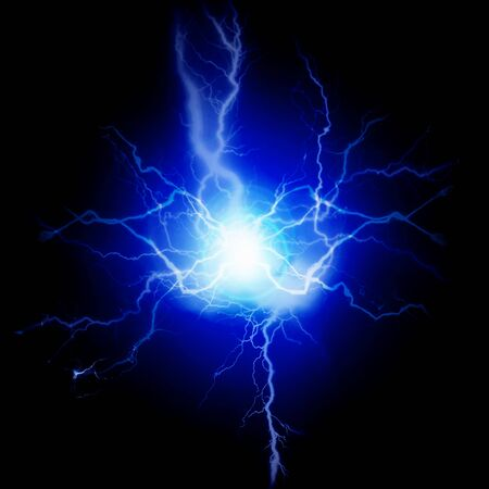 Exploding bolts of lightning electricity energy blue pure power Stockfoto