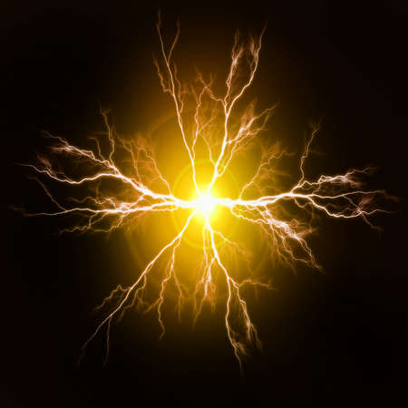 Explosion of pure power and yellow electricity in the dark