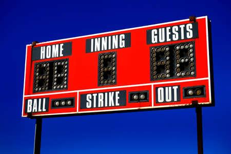 Baseball scoreboard with details of score ball strike innings