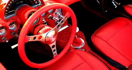 Detail of interior red sports car steering wheel speedometer Standard-Bild