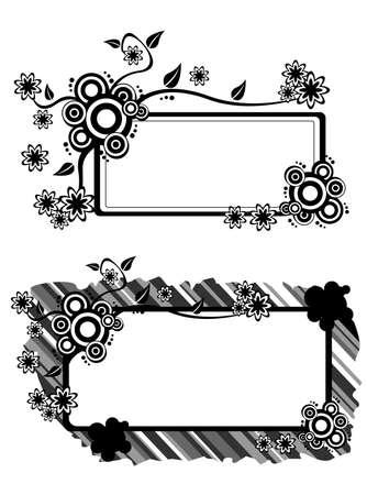 Black and White Flower Vector Text Box Illustration