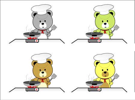 Chef of Teddy Bear Vector Illustration