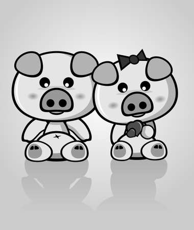 Black and White Cute Pig Vector