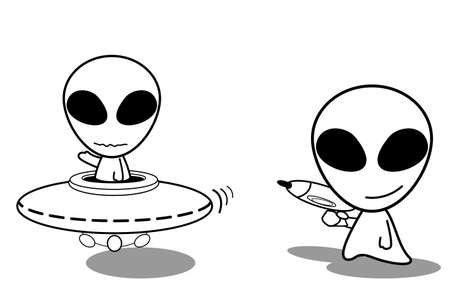 Cute UFO Alien Vector